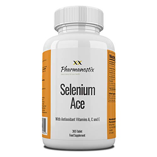 Selenium ACE 220mcg with Vitamins A, C & E – 365 Vegan Tablets – 12 Month Supply – for Maintenance of Normal Hair, Nails & Immune System – Made in UK