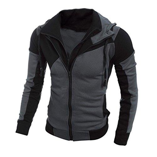 VEMOW Heißer Herbst Winter Männer Retro Langarm Herren Hoodie Kapuzen Sweatshirt Lässige Tägliche Sport Workout Tops Jacke Mantel Outwear(Schwarz, 46 DE/M CN)