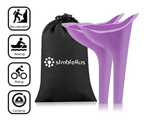 Simble4us Female Urination Device - Portable Women Stand Urinal Reusable Urinal Funnel for Travelling, Camping, Hiking, Outdoor Activities - Carry Bag Included (Purple)