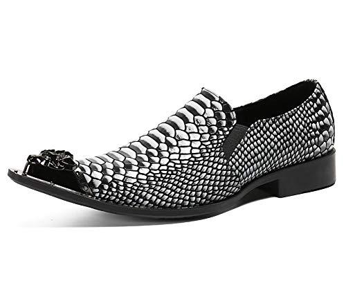 Los hombres de los zapatos de cuero de imitación de cocodrilo patrón de cuero con puntera metálica...