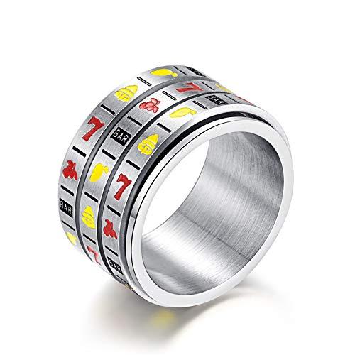 Beglie Ring für Männer Obst Verlobunsringe 14Mm Breit Titanium-Steel Eheringe Silber Trauringe Herren 62 (19.7)