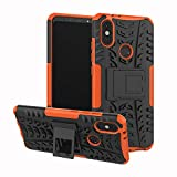 JZ Tire Pattern Funda For para Xiaomi Mi A2 / Mi 6X with [Kickstand] Shockproof Scratch-Resistant Back Cover - Orange