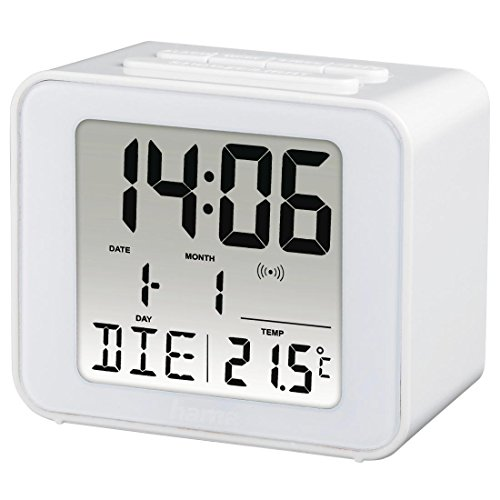 """Hama Funk-Wecker """"Cube"""" (digital, beleuchtet, automatische Zeitanpassung, ansteigender Weckton, Snooze, Temperatur-Anzeige, Batterie) Reisewecker, Funkuhr, Digitalwecker weiß"""