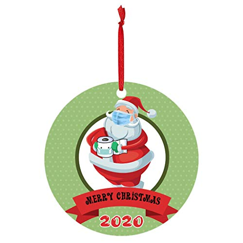 VEFSU Christmas Tree Ornaments, Decorations Wooden Hanging Mini Crafts Santa Claus Snowman Decor Gift Tags Decor, 3.14 Inch in Diameter(Q)