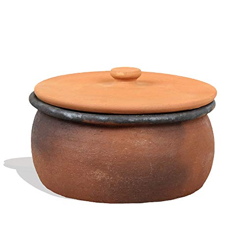 Clay Cooking Pots with Lids, Clay Pots for Cooking, UNGLAZED Earthenware Rice Pots, Twice Baked Traditional Casserole for Cooking on STOVE Top, Vintage Portuguese Terracotta Roaster (Extra Large)