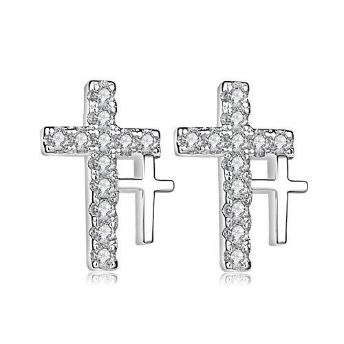 Unendlich U- Pendientes Cruces de Plata de Ley 925 Pendientes Doble Cruz con Diamante para Mujeres Chicas