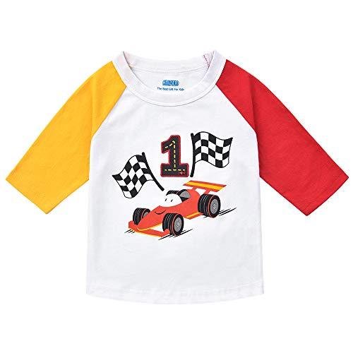 AMZTM Baby Junge 1 Jahr Geburtstag Langarmshirt, 1. Geburtstag Rennauto Shirt 100% Baumwolle Stickerei T-Shirt Langarm (Weiß, 80)