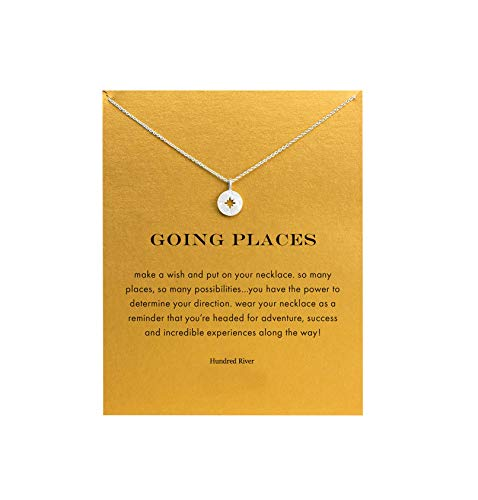 Baydurcan Hundred River Friendship Anchor Compass Necklace Good Luck Elephant Pendant Chain Necklace with Message Card Gift Card (Compass s)