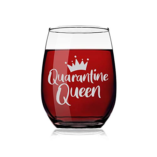 Quarantine Queen Wine Glass   Funny Social Distancing Gift for Women   20 ounce Stemless Wine Glass