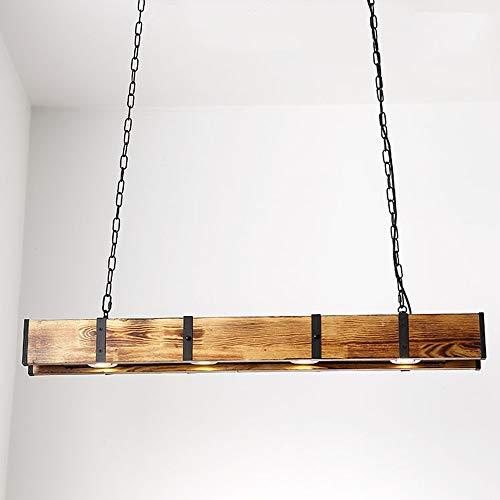 Henley Holz Pendelleuchte Esszimmer Retro Lampe LED 12W, Pendellampe Industrial Vintage Design Hängelampe Höhenverstellbare Hängeleuchte für Wohnzimmer Küche