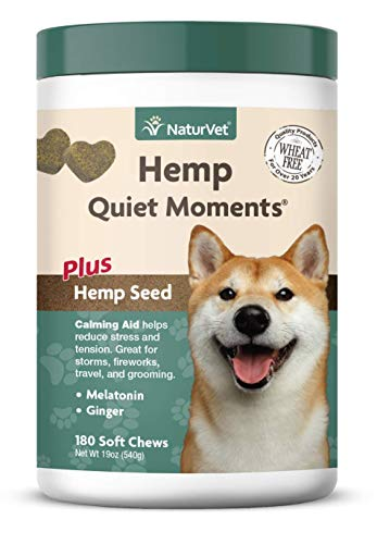 NaturVet – Hemp Quiet Moments Calming Aid for Dogs - Plus Hemp Seed – Helps Reduce Stress & Promote Relaxation – Great for Storms, Fireworks, Separation, Travel & Grooming – 180 Soft Chews
