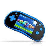 IQ Toys Handheld Arcade Game Zone Player Console Classic 220 Preloaded Video Games for Kids, 16 BIT Large 3' Screen, Rechargable, Blue