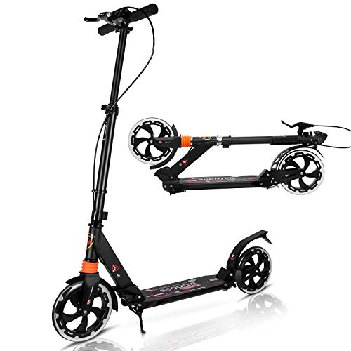 Yuanj Kick Scooter für Erwachsene/Teenager, Tretroller klappbar Kinder City Scooter ab 6 Jahre alt (Black)