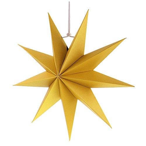 Gazechimp Hänge-Deko aus Papier 3D Sterne Form für Weihnachten Halloween Party - Gelb, 30 cm