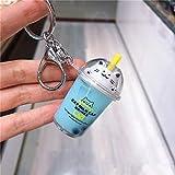 HAILI Cartoon niedlichen Katze Auto Schlüsselbund kreative Milchtee Tasse LCD Treibsand Pailletten Schlüsselring weibliche Tasche Schlüsselbund Anhänger, blau