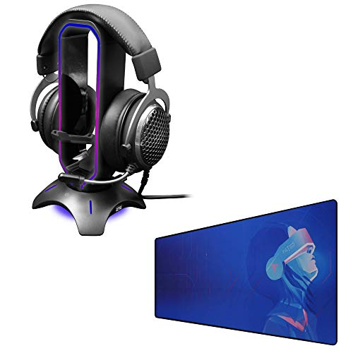 Tilted Nation RGB Headset Stand + Extended Mouse Pad Large Bundle - Immerse in Your Gaming - 3 in 1 Gaming Headset Stand with Mouse Bungee and USB Hub - Gaming Mouse Pad (Cyberpunk Theme)