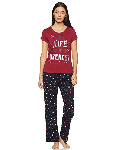 Max Women's Casual Pajama Top (BK07AZRED_RED_L)