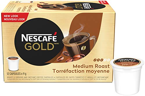 Nescafe Gold Rich & Smooth Keurig Kcup Coffee Pods Crafted with Arabica Beans, 12 capsules {Imported from Canada}