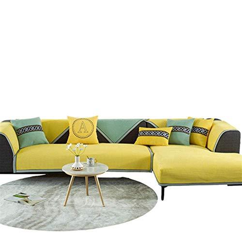 Sesselschoner Sofaüberwurf,Winter verdicktes Cord-Sofakissen, Plüschtuch für Wohnzimmer-gelb_90 * 120cm,bezug Sofa Schutz Abdeckung Yellow 90 * 120cm