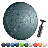 BODYMATE Ballsitzkissen Comfort inkl. Pumpe GRAU-BLAU 33cm Durchmesser - Balance-Kissen, Sitzballkissen, Luftkissen, Balance Pad - Core-, Fitness-, Reha-, Koordinations- und Rückentraining