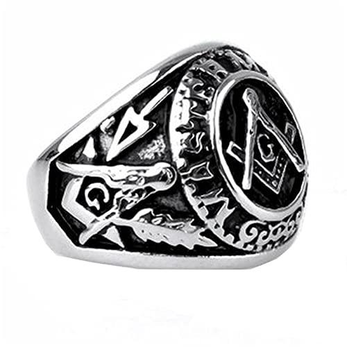 DZXCB Punk Vintage Past Master Massonic Signet Rings Men Titanium Stainless Steel Mason Cool Rings for Men Street Jewelry,11