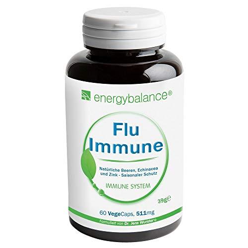 Flu-Immune 511mg - natürlicher Immunsystem Komplex - Hohe Bioverfügbarkeit - Antioxidantien - Vegan - Glutenfrei - Ohne Zusatzstoffe - 100% reine Zutaten - GVO-frei - Nahrungs-Äquivalent - 60 VegeCaps