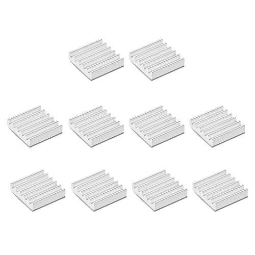 DyniLao 3x12x12mm Silver Tone Aluminum Heatsink Thermal Adhesive Pad Cooler for 3D Printers Cooling 10pcs