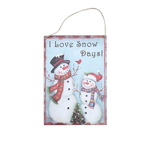 VALICLUD Navidad Tablero Colgante de Madera Amo Los Días de Nieve Muñeco de Nieve Letrero de La Puerta Placa de Madera Decoración de La Pared Colgante de Navidad Decoración Colgante Del