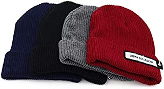 ZiWen Lu Autumn and Winter New Couple Knitting Wool hat Labeling Casual Men and Women hat Thick Warm line Cap (Color : Grey, Size : 56-58cm)