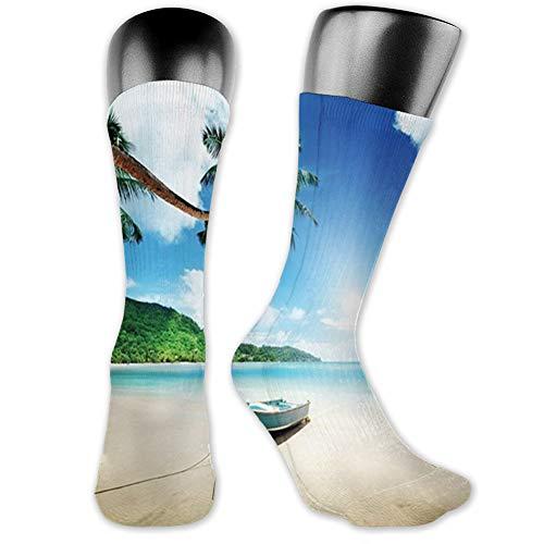 "Ingpopol Medium long Crew Socks,Tropical,Wooden Boat Seychelles Beach with Palm Trees Paradise Ocean Scenery,Unisex 15.7"",Beige Hunter Green Blue"
