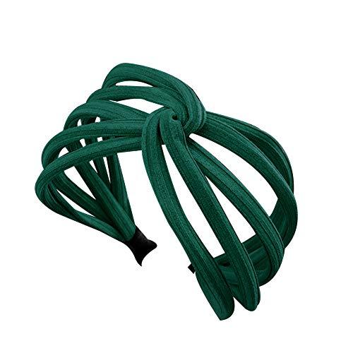 Bluelans Headbands for Women, Twist Hair Hoop Band Plain Wide Headwrap Headband Elastic Headwear Accessories for Women Girls Green
