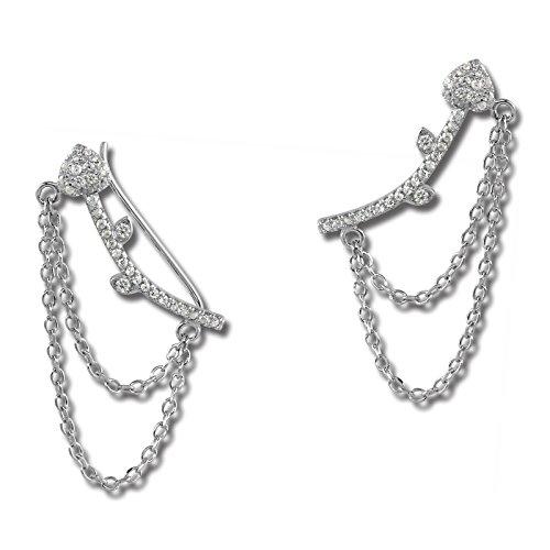 Pendiente de mujer SilberDream tipo brazalete de oreja con cadena y corazón de circonitas de plata de ley 925 GSO454W