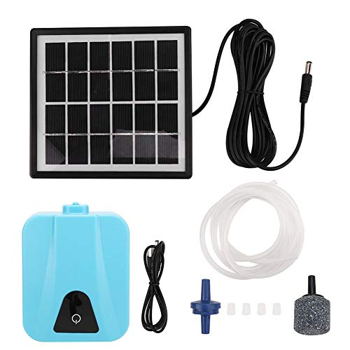 Solar Air Pump, AP003 AC/DC Solar Powered Air Pump Kit, 1.5W zonnepaneel beluchter zuurstofpomp, voor siervissen, aquaria, viskwekers, aquariums