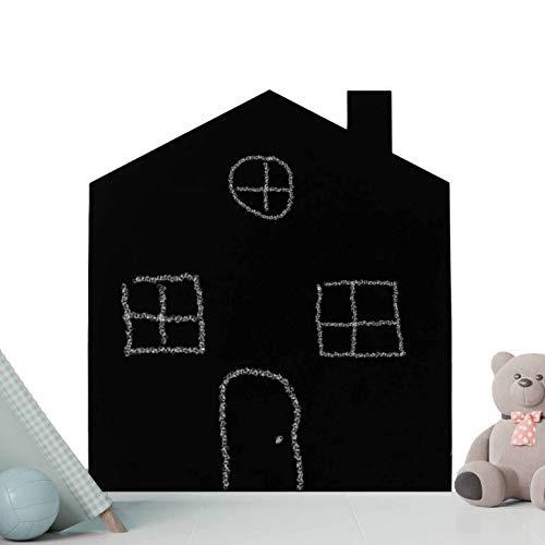 Pizarra Negra Infantil con Forma de casa. 50 x 40 cm. Pizarra Decorativa rígida de Grosor 3 mm para Escritura con tizas y con rotuladores de Tiza liquida, Ideal para habitación de niños.
