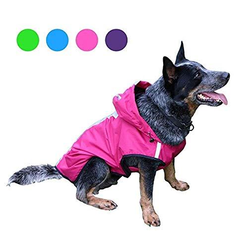 Aexit Chubasquero para Perros con Capucha Chubasquero para Perros Chaqueta Impermeable con Capucha Chaqueta Reflectante Chubasquero Ropa para Mascotas Pink_XL