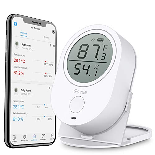 Govee Temperature Humidity Monitor, Indoor Wireless Thermometer Hygrometer Gauge, Bluetooth Temp Humidity Sensor with Alert, Data Export for Home Room House Garage Cigar Humidor Wine Cellar Greenhouse