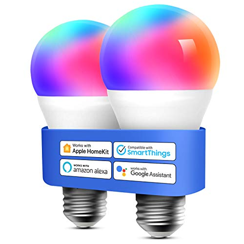 Smart WLAN Glühbirne funktioniert mit Apple HomeKit, Meross Wifi Lampe LED Mehrfarbige Dimmbare Glühbirne kompatibel mit Siri, Alexa, Google Home und SmartThings, E27 Warmweiß, 2 Stücke