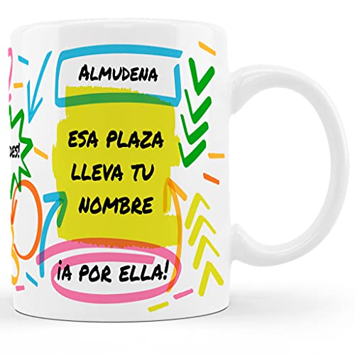BEE INGENIOUS taza opositor taza opositora taza personalizada con nombre Una plaza es tuya Opositores regalos para opositores Tazas de desayuno tazas personalizadas
