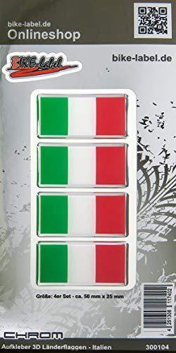 Bike Label 300104N Aufkleber 3D Länder-Flaggen Italien Italy mit Chromrand 4 Stck