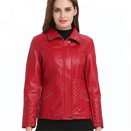 EverNight Chaquetón De Cuero De Imitación Corto Chaqueta De Las Mujeres, Moto del Motorista Slim Fit Casual Chaquetones, Bordado Caliente Outwear,Rojo,XL