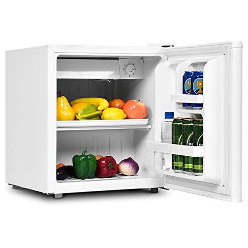 DREAMADE Mini-Kühlschrank, Tischkühlschrank 48L, Kühl-Gefrier-Kombination, Schlepptür, Höhenverstellbare Füße, mit einem zusätzlichen Gefäß (Weiß)