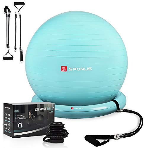 Sporus Gymnastikball Stuhl System, Anti-Burst Fitnessball (65 cm)...