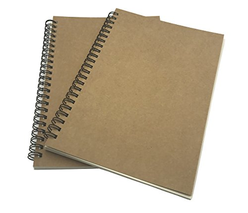 FLOKD Lot de 2 Cahiers à Spirales, Blanc, A5 (14.6 x 21 CM), 100 Pages (50 feuilles) Chacun, Notebook de Couverture Kraft, Papier de 100g