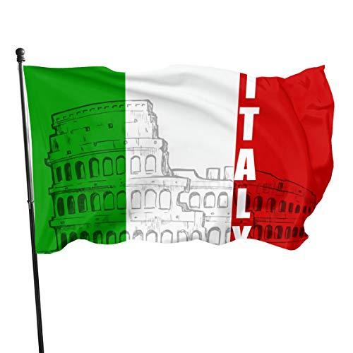 Italiaanse Romeinse Colosseum vlag (de Union Jack) 3 X 5 Ft (150x240cm) Polyester -Levendige kleur en dubbele gestikte nationale vlaggen 100% Polyester Banner voor buiten
