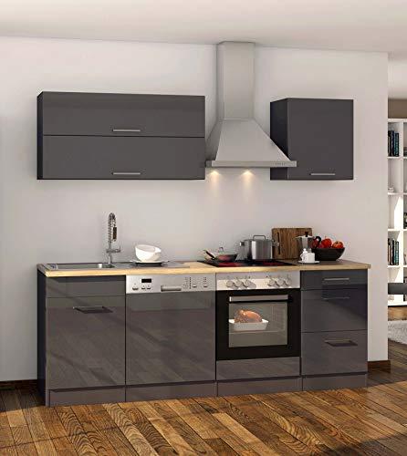 lifestyle4living Küche mit Elektrogeräten 220cm | Küchenzeile Küchenblock Einbauküche E-Geräte | Hochglanz Grau/Eiche Sonoma