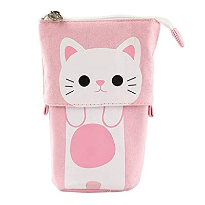 Stand Pencil Case - WENTS Transformer Canvas Pen Bag Holder PU Cartoon Cute Cat Telescopic Pencil Pouch Bag Standing Stationery Make Up Bag Box with Zipper Closure for Girls and Student(Pink)