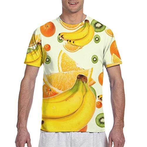 Bananen Kiwi Orangen Obst Abstrakt Kurzarm Rundhals T-Shirts