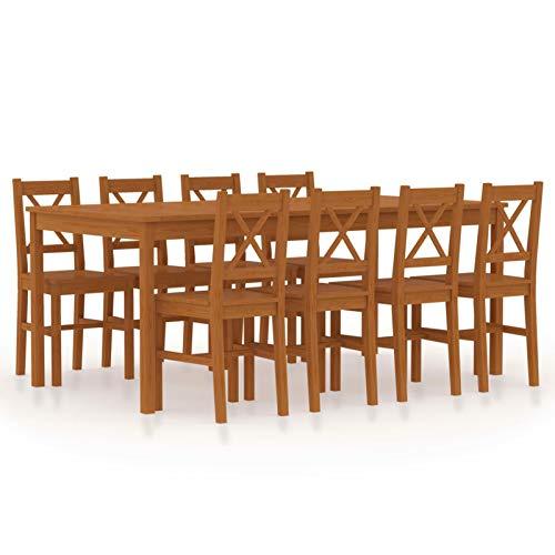 Tidyard Conjunto de Comedor 9 Piezas Mesa de Cocina con 8 Sillas Juego Muebles de Cocina Sala Salón Madera de Pino Marrón Miel