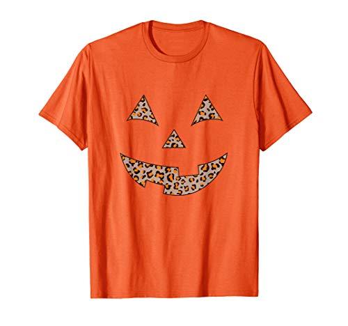 Women's Leopard Print Jack O Lantern Pumpkin Halloween T-Shirt