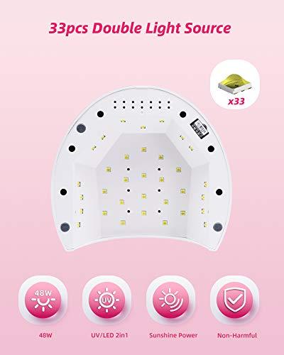 Lámpara Secadora de Uñas, SUNUV Profesional LED UV Lampara Uñas de Gel, Curado Luz en 4 modos para tiempo 10s, 30s, 60s y 90s
